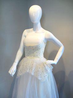 vintage 50's shelf bust rhinestone wedding dress $295