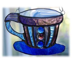 Teacup Stained Glass Suncatcher coffee cup mug 007