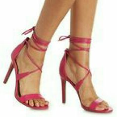 Charlotte Russe Hot Pink lace up strappy sandals Very sexy hot pink lace up ankle strappy sandals. Brand new in box. Size 6 Charlotte Russe Shoes Sandals