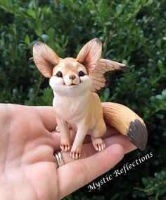 Handmade one of a kind Polymerclay winged Fennec Fox Sculpture by Mystic Reflections. Christmas Dragon, Fennec Fox, Blue Flames, Believe In Magic, Polymer Clay Creations, Sculpture Clay, Cute Creatures, Fantasy Artwork, Wings