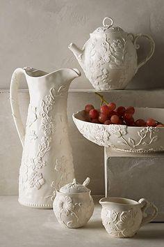 """Petal Vines Serveware - Handpainted stoneware, dishwasher & microwave safe. Large Bowl, 150 oz, 14"""" x 3¼"""" tall. Pitcher, 117 oz, 8½"""" w x 13-3/4"""" tall. Creamer, 5½"""" x 3"""" tall, Sugar w/Lid, 4"""" x 5½"""" tall. Teapot, 10"""" w x 7½"""" tall.  $78.00/set at anthropologie.com"""