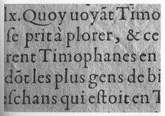 Claude Garamont's gros romain roman as seen in Les Vies des hommes illustres, Paris: Vascosan, 1559, shown in Knight (p. 41)
