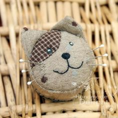 the needles on the pincushion are the Cat's whiskers This is my homework for Emma-Cotton-Talk 's May Sewing Project The topic is Pincu...