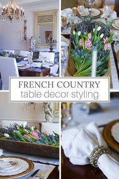 This simple but elegant table is set to reflect the French Country style of the dining room, working seamlessly with the decor around it. Modern French Country, French Farmhouse Decor, French Home Decor, French Country Decorating, Country Farmhouse, French Table Setting, Country Table Settings, Beautiful Table Settings, Country Interior Design