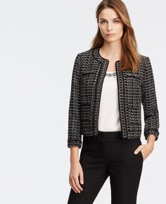 """Sophisticated jackets top off any outfit (and occasion), especially modernized with a collarless cut, refined texture and piped trim. Open front. 3/4 sleeves. Mock welt chest pockets. Patch pockets. Lined. 19"""" long."""