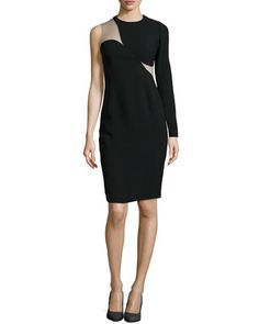 One-Sleeve Illusion Sheath Dress, Black by Stella McCartney at Neiman Marcus.