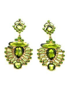 Oorbellen met groene acrylaat kralen en strassteentjes #oorbel www.deoorbel.nl #earring