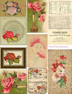 Free Collage Sheets by Art and imagesbykim: Free Collage Sheet Flowers Roses Bouquets