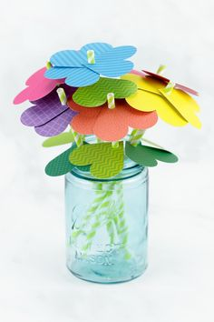 Just in time for spring, kids of all ages will enjoy making a vibrant bouquet of paper heart flowers with colorful scrapbook paper, green paper straws, and a heart paper punch. This easy spring craft Flowers For Valentines Day, Valentine Day Crafts, Spring Crafts For Kids, Paper Crafts For Kids, Paper Flowers Diy, Flower Crafts, Tissue Flowers, Diy Paper, Bunny Crafts