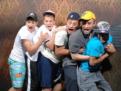 """The 45 Best Pictures Of Scared Bros At A Haunted Hause Of 2012! Had to know...its the front end of a car on a set of rails. its basically a pitch black room and all of a sudden the cars lights turn on followed by the """"car"""" speeding right at them."""