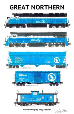 A Great Northern blue era paint scheme train. Hand drawings by Andy Fletcher