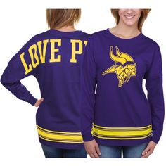 Women s Minnesota Vikings PINK by Victoria s Secret Purple Varsity Stripe  Crew Neck Pullover Sweatshirt. Sports Deliver 0fdcb2aa0