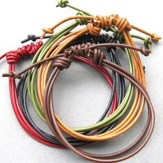 Mens leather multi strand adjustable bracelets - choose your colour.