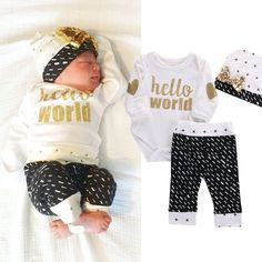 0-18M Newborn Baby Girl Boy Clothes Cotton Gold Heart Long Sleeve Romper+Pants Leggings+Hat 3pcs Outfits Clothing Set Cute #>=#>=#>=#>=#> Click on the pin to check out discount price, color, size, shipping, etc. Save and like it!