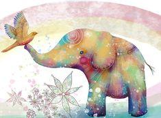 'The Indigo Elephant' Greeting Card by Karin Taylor Elephant Love, Elephant Art, Elephant Tattoos, African Elephant, Elephant Illustration, Illustration Art, Illustrations, Cute Monsters, Cute Art