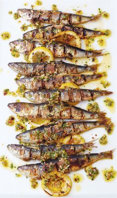 // Portuguese Grilled Sardines with Charred Lemon, Herbs & Chilli..Love love these!!