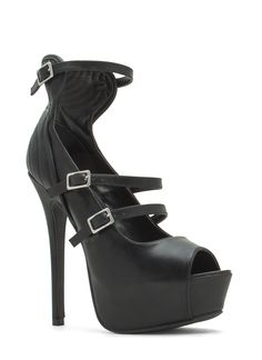 Stitch Accent Platform Heels BLACK