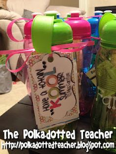 "Could adapt as a Welcome Gift.  ""Have a totally KOOL year.""  Then, they have personalized water bottles for the entire school year.  EVERYONE will have them so we don't use bottled water.  GREEN."