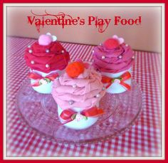 Valentine's Felt Cupcakes  Play Food by buttercreamforest on Etsy, $6.00