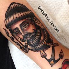 """Sailor man from earlier #sailorman #sailor #pipe #anchor #beard #traditional #tattoo @salonserpenttattoo"""