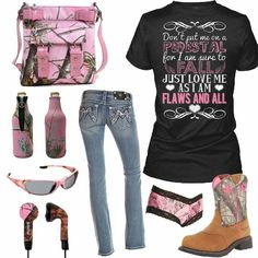 I love the pink camo all over. My kind of outfit!