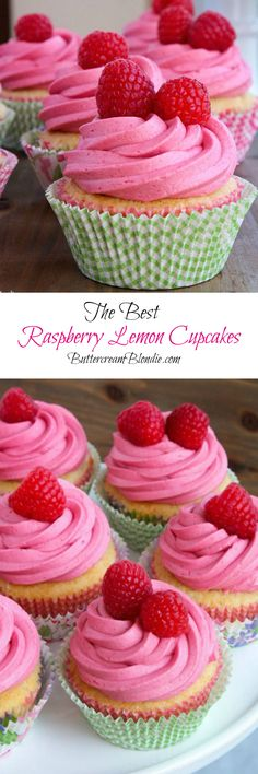 Raspberry Lemon Cupcakes - light lemon cupcakes filled with lemon curd and topped with the best raspberry buttercream! | ButtercreamBlondie.com