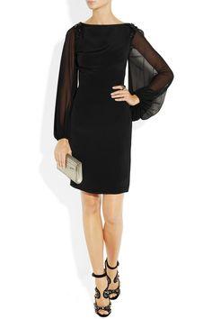 Notte by Marchesa|Embellished sheer-sleeve silk dress|NET-A-PORTER.COM | I love the sleeves!