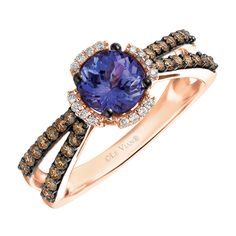 Le Vian Ring with Tanzanite & 3/8 Carat TW of Chocolate & Vanilla Diamonds in 14kt Rose Gold
