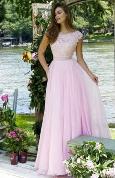 A-line Lace Bodice Sleeveless Candy Pink Chiffon V Back Coast Prom Dress with Crystal Band