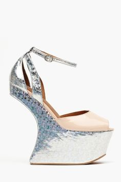 Platform in Hologram by Jeffrey Campbell Fancy Shoes, Crazy Shoes, Me Too Shoes, Weird Shoes, Pretty Shoes, Jeffrey Campbell, Dorothy Shoes, Ankle Strap Shoes, Walk This Way