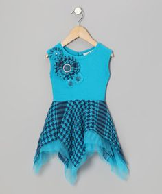 Take a look at this Turquoise Houndstooth Ruffle Handkerchief Dress - Toddler & Girls by Candytoez on #zulily today!