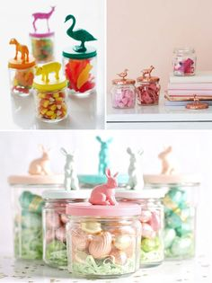 DIY animal figurine jar lids--so cute for storing candy, kid's treasures, or craft supplies