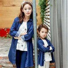 2016 autumn new design mother and children clothing Denim shirt European print  Buckle children long shirt  unisex  fashion