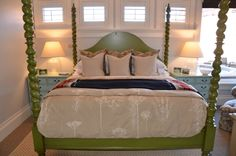 painted bed...I am soo tempted to do this to our bed!!!!!