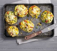 Stuffed Jacket Potatoes - Cheese, mixed peppers and herbs in an easy recipe. Vegan Recipes Videos, Uk Recipes, Bbc Good Food Recipes, Veggie Recipes, Healthy Dinner Recipes, Vegetarian Recipes, Vegetarian Kids, Veggie Meals, Family Recipes