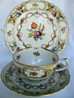 Schumann Bavarian Dresden Floral with Swag Trio Cup And Saucer Set, Tea Cup Saucer, Tea Cups, Porcelain Dolls Value, Dresden Porcelain, China Tea Sets, Vintage Dishes, Vintage Teacups, Teapots And Cups
