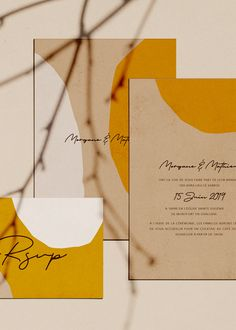 Faire part de mariage avec des dessins abstraits réalisé par Lise Mailman pour Ruban Collectif