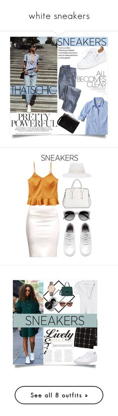 """""""white sneakers"""" by smillafrilla ❤ liked on Polyvore featuring Giuseppe Zanotti, Hollister Co., Wrap, H&M, Ace, French Connection, Maison Michel, MANGO, Vans and Anya Hindmarch"""