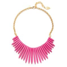 David Aubrey Pink Spike Bib Necklace ($75) ❤ liked on Polyvore featuring jewelry, necklaces, david aubrey necklace, adjustable necklace, pink necklace, spikes jewelry and spike necklace