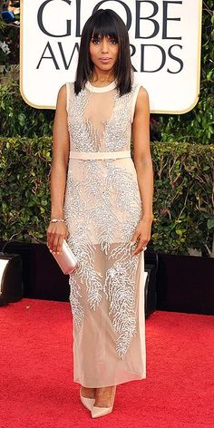 The Golden Globes 2013: Kerry Washington paired her sheer beaded Miu Miu dress with a vintage Movado watch and a two carat green diamond cocktail ring by Chopard. She finished off her look with a Prada clutch and pumps.