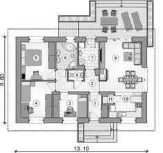 Projekt domu Aurelia 84,15 m2 - koszt budowy - EXTRADOM Floor Plans, Floor Plan Drawing, House Floor Plans