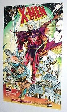1991 RARE VINTAGE ORIGINAL 22 x 14 MARVEL COMICS UNCANNY X-MEN POSTER 1:WOLVERINE/ROGUE/GAMBIT/PSYLOCKE/JIM LEE ART/1990's, $39.99