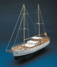 The Mantua (Panart) Bruma is a scale reproduction of an ocean going fishing boat, converted into a pleasure yacht. Wooden Model Boat Kits, Wooden Model Boats, Wooden Boats, Model Sailing Ships, Model Ships, Model Ship Building, Boat Building, Model Sailboats, Dioramas