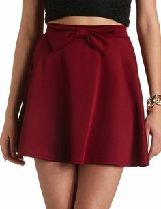 Bow-Front High-Waisted Skater Skirt: Charlotte Russe