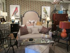 Geometric #wallpaper makes a great backdrop with printed #pillows and colorful #lamps at #Houston #Mecox #interiordesign #mecoxgardens #furniture #shopping #design #decor #home #designidea #room #vintage #antiques #garden