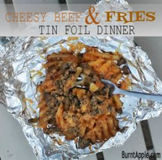 I want to eat this on the couch in my pajamas during a netflix marathon on a chilly day. Tin foil dinner: Cheesy Beef & Fries