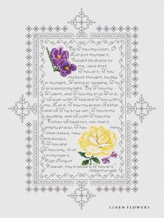 Be Thou My Vision cross stitch || Angie Kowalsky/Linen Flowers Designs...very pretty!!
