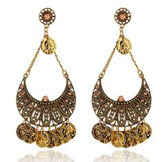 3.34€ - Bohemian carving flower Coin Statement Earring Ethnic Gypsy Beach India African Stone 3620 - Best Lady Jewelry Store