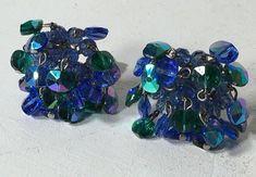 Vintage Vogue AB Aurora Borealis Blue Green Cluster Silver Tone Clip On Earrings  | eBay