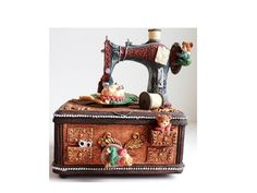 Vintage Music Box Sewing Machine Teddy Bears by ClearlyRustic, $23.00